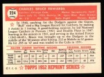 1952 Topps Reprints #224  Bruce Edwards  Back Thumbnail