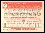 1952 Topps Reprints #45  Eddie Joost  Back Thumbnail