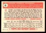 1952 Topps Reprints #46   Gordon Goldsberry Back Thumbnail