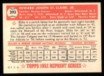 1952 Topps Reprints #393  Ebba St.Claire  Back Thumbnail