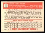 1952 Topps Reprints #187   Bob Miller Back Thumbnail