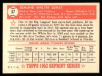 1952 Topps Reprints #57  Eddie Lopat  Back Thumbnail