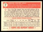 1952 Topps Reprints #57  Eddie Lopat  Back Thumbnail