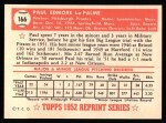 1952 Topps Reprints #166  Paul LaPalme  Back Thumbnail