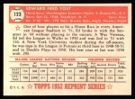 1952 Topps Reprints #123   Eddie Yost Back Thumbnail