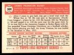 1952 Topps Reprints #309   Jim Busby Back Thumbnail