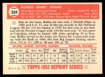 1952 Topps Reprints #249  Bobby Adams  Back Thumbnail