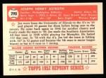 1952 Topps Reprints #290  Joe Astroth  Back Thumbnail