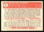 1952 Topps Reprints #23  Billy Goodman  Back Thumbnail