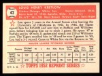 1952 Topps Reprints #42   Lou Kretlow Back Thumbnail