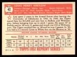 1952 Topps Reprints #42  Lou Kretlow  Back Thumbnail