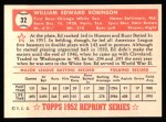 1952 Topps Reprints #32  Eddie Robinson  Back Thumbnail