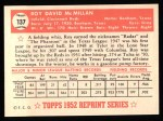 1952 Topps Reprints #137  Roy McMillan  Back Thumbnail