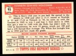 1952 Topps Reprints #95  Ken Holcombe  Back Thumbnail