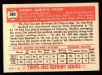 1952 Topps Reprints #383  Del Wilber  Back Thumbnail
