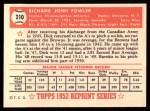 1952 Topps Reprints #210  Dick Fowler  Back Thumbnail