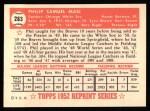 1952 Topps Reprints #283  Phil Masi  Back Thumbnail