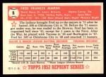 1952 Topps Reprints #8   Fred Marsh Back Thumbnail