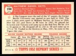 1952 Topps Reprints #230   Matt Batts Back Thumbnail