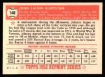 1952 Topps Reprints #148   Johnny Klippstein Back Thumbnail