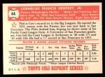 1952 Topps Reprints #44  Con Dempsey  Back Thumbnail