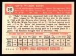 1952 Topps Reprints #292   Floyd Baker Back Thumbnail
