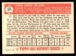 1952 Topps Reprints #271  Jim Delsing  Back Thumbnail