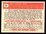 1952 Topps Reprints #214   Johnny Hopp Back Thumbnail