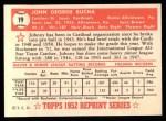 1952 Topps Reprints #19   Johnny Bucha Back Thumbnail