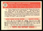1952 Topps Reprints #332   Tony Bartirome Back Thumbnail