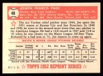 1952 Topps Reprints #48  Joe Page  Back Thumbnail