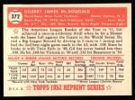 1952 Topps Reprints #372  Gil McDougald  Back Thumbnail