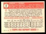 1952 Topps Reprints #61   Tookie Gilbert Back Thumbnail