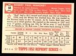 1952 Topps Reprints #58  Bob Mahoney  Back Thumbnail