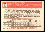 1952 Topps Reprints #334  Wilmer Mizell  Back Thumbnail