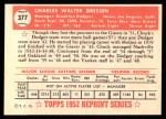 1952 Topps Reprints #377  Chuck Dressen  Back Thumbnail