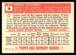 1952 Topps Reprints #56  Tommy Glaviano  Back Thumbnail