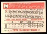 1952 Topps Reprints #4  Don Lenhardt  Back Thumbnail