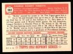 1952 Topps Reprints #282  Birdie Tebbetts  Back Thumbnail