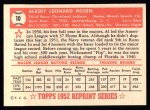 1952 Topps Reprints #10  Al Rosen  Back Thumbnail