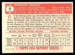 1952 Topps Reprints #12  Monty Basgall  Back Thumbnail