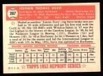 1952 Topps Reprints #287   Steve Bilko Back Thumbnail