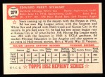 1952 Topps Reprints #279   Eddie Stewart Back Thumbnail