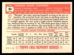1952 Topps Reprints #80  Herman Wehmeier  Back Thumbnail