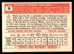 1952 Topps Reprints #38  Wally Westlake  Back Thumbnail