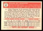 1952 Topps Reprints #167   Bill Howerton Back Thumbnail