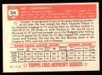 1952 Topps Reprints #314   Roy Campanella Back Thumbnail