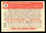 1952 Topps Reprints #180   Charlie Maxwell Back Thumbnail