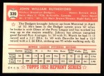 1952 Topps Reprints #320   John Rutherford Back Thumbnail