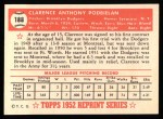 1952 Topps Reprints #188   Clarence Podbielan Back Thumbnail
